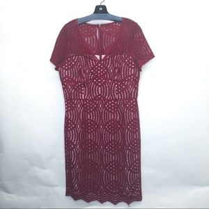 Nue by Shani Red crochet style cap sleeve dress